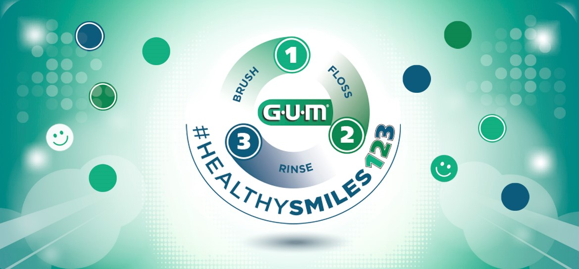 Sunstar GUM Healthy Smile three step oral care routine