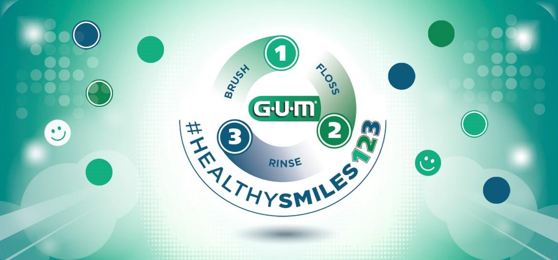 Sunstar GUM Healthy Smile three step oral care routine
