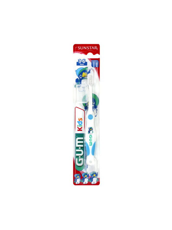 The GUM Ultra Soft Kids toothbrush, for children aged 3 – 6 years, is designed for easy grip by a young child. The small, rounded handle allows for all types of grip and the small head is suitable for a small mouth. The gentle, feathered bristles thoroughly remove plaque from the tooth surface, in-between the teeth and along the gumline. The split bristle tips reach into fissures, where cavities can easily start.