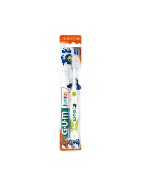 The GUM Ultra Soft Junior toothbrush, for children aged 7 – 9 years is designed to give better control and access to back teeth. The longer, thin handle with thumb pad allows for easy grip and better reach. The gentle, feathered bristles thoroughly remove plaque from tooth surfaces, interdental spaces and the gumline. The split bristle tips reach into tooth fissures, where cavities can easily start. Comes with a hygiene cap, great for travel and sleep overs.