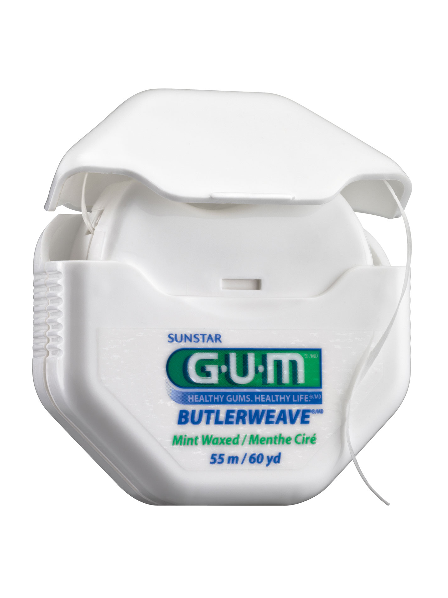 GUM ButlerWeave is a uniquely woven dental floss designed to remove dental plaque from areas between the teeth most commonly missed by tooth brushing alone.