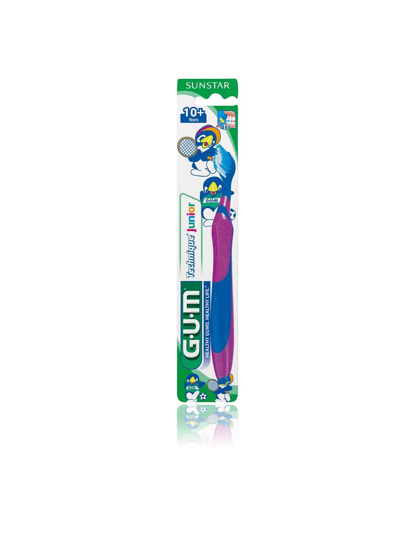 The GUM Technique Junior toothbrush (for children 10 years and older) helps develop a good brushing technique. The non-slip Quad-Grip handle helps guide a child's hand to correctly position the toothbrush