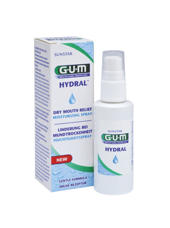 If you suffer from dry mouth you'll find Sunstar GUM Hydral Moisturising Spray super-convenient for on-the- go use to help alleviate dry mouth. Simply spray directly into the mouth as needed to hydrate, soothe and protect.