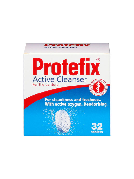 Protefix Active Cleanser tablets cleanses and deodorise dentures in as little as 15 minutes for all-day freshness and cleanliness. Using active oxygen Protefix Active Cleanser is powerful enough to cleanse thoroughly without damaging the dentures.