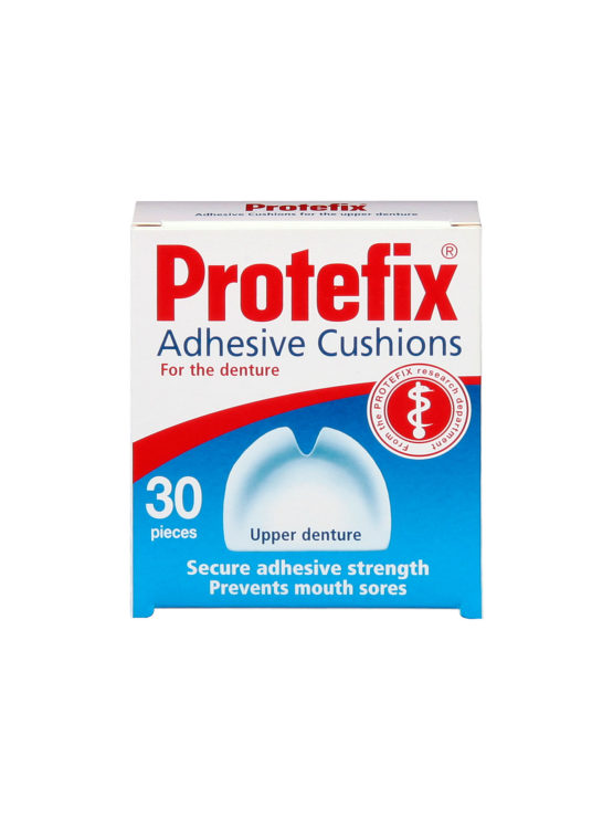 Protefix Adhesive Cushions for upper & lower dentures - the intermediate solution tailored to fit Especially suitable for temporary dentures during bridging period.