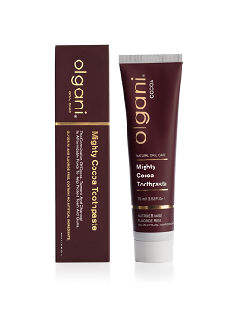 OLGANI MIGHTY COCOA TOOTHPASTE Fluoride- free Mighty Cocoa Toothpaste, utilising Theobromine's restorative properties, gives you a natural, healthy alternative to generic Fluoride toothpaste. Signature base ingredient, NutrireB