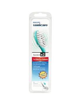 Sonicare Kids FlexCare Replacement Brush, 7+, 2pcs • Genuine Philips Sonicare rechargeable electric toothbrush head • Compatible with Philips Sonicare for Kids. High-amplitude brush movements maximize sonic motion • #1 Recommended power toothbrush brand by Dental Professionals • Kid-sized compact brush heads fit your child's mouth. Soft bristles for a gentle brushing • Removes significantly more plaque in hard-to-reach areas than a children's manual toothbrush • Material brush head : BPA-Free. Brush head system : Click-on